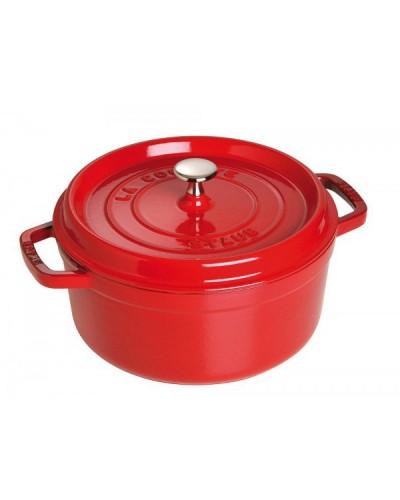 Cocotte staub ronde fonte rouge cerise paris france - Cocotte ronde en fonte ...