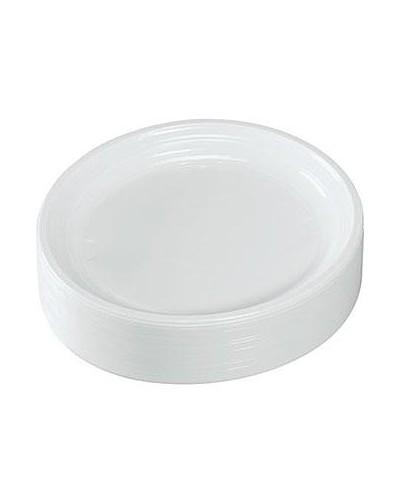 ASSIETTES BLANCHES EN PLASTIQUE 170 mm (Qtés : 100)